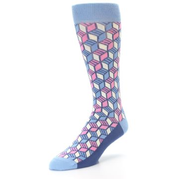 Image of Blue Pink Cube Men's Dress Socks (side-2-front-08)