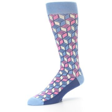 Image of Blue Pink Cube Men's Dress Socks (side-2-09)