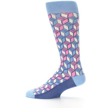 Image of Blue Pink Cube Men's Dress Socks (side-2-12)