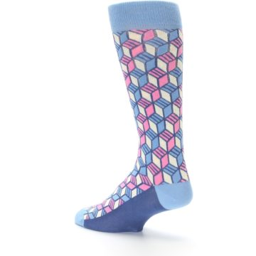 Image of Blue Pink Cube Men's Dress Socks (side-2-back-14)