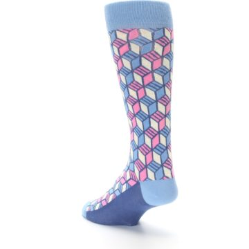 Image of Blue Pink Cube Men's Dress Socks (side-2-back-15)