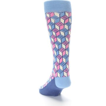 Image of Blue Pink Cube Men's Dress Socks (side-2-back-16)