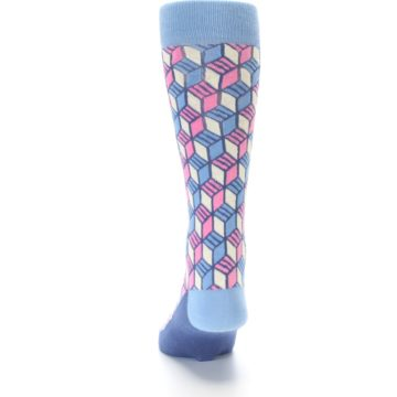 Image of Blue Pink Cube Men's Dress Socks (back-17)
