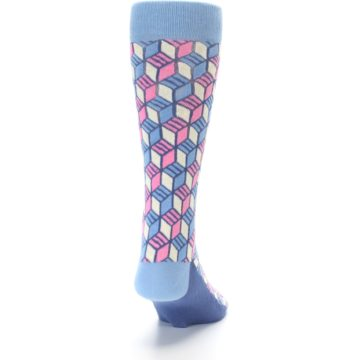 Image of Blue Pink Cube Men's Dress Socks (back-19)