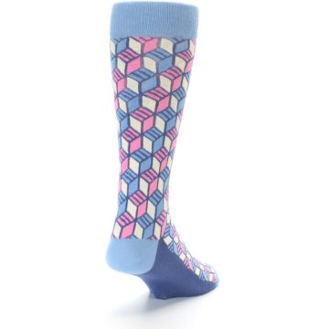 Image of Blue Pink Cube Men's Dress Socks (side-1-back-20)