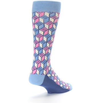 Image of Blue Pink Cube Men's Dress Socks (side-1-back-21)