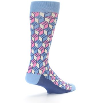 Image of Blue Pink Cube Men's Dress Socks (side-1-back-22)