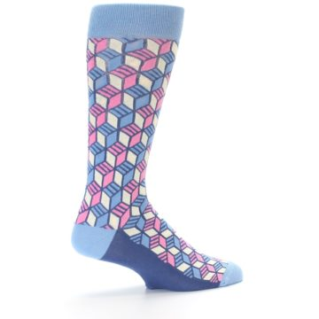 Image of Blue Pink Cube Men's Dress Socks (side-1-23)