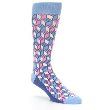 Image of Blue Pink Cube Men's Dress Socks (side-1-27)