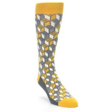 Image of Grey Mustard Cube Men's Dress Socks (side-1-front-02)