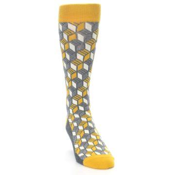 Image of Grey Mustard Cube Men's Dress Socks (side-1-front-03)