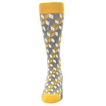 Image of Grey Mustard Cube Men's Dress Socks (front-05)