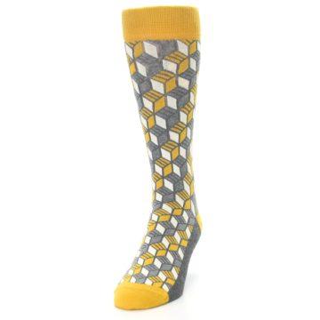 Image of Grey Mustard Cube Men's Dress Socks (side-2-front-06)