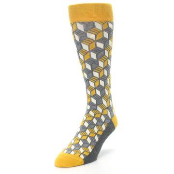 Image of Grey Mustard Cube Men's Dress Socks (side-2-front-07)