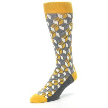 Image of Grey Mustard Cube Men's Dress Socks (side-2-front-08)