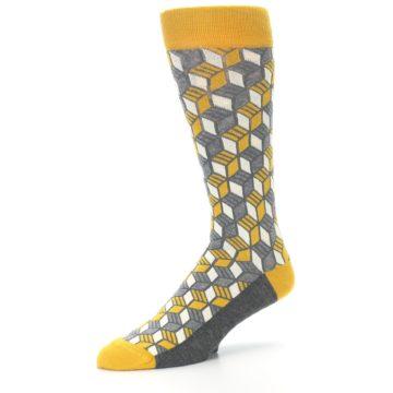 Image of Grey Mustard Cube Men's Dress Socks (side-2-09)