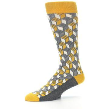 Image of Grey Mustard Cube Men's Dress Socks (side-2-10)
