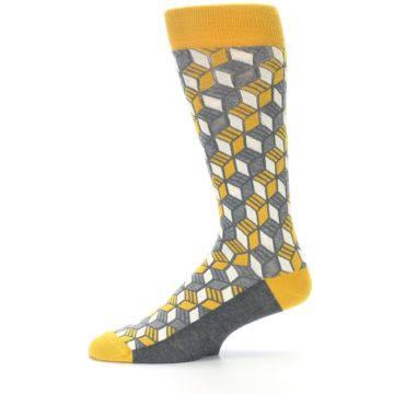 Image of Grey Mustard Cube Men's Dress Socks (side-2-11)