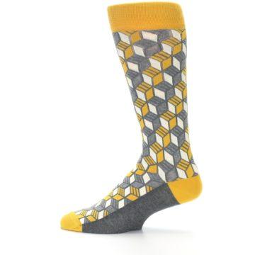 Image of Grey Mustard Cube Men's Dress Socks (side-2-12)