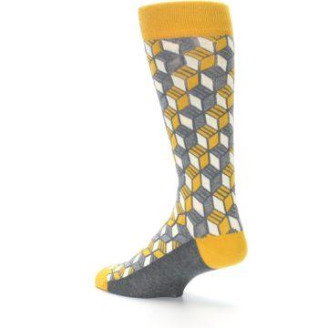 Image of Grey Mustard Cube Men's Dress Socks (side-2-back-14)