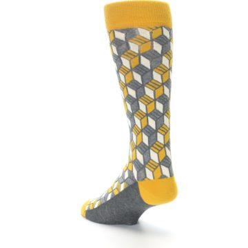 Image of Grey Mustard Cube Men's Dress Socks (side-2-back-15)