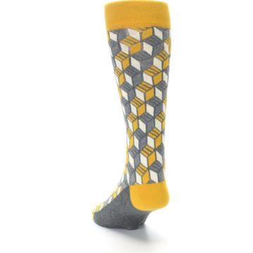 Image of Grey Mustard Cube Men's Dress Socks (side-2-back-16)