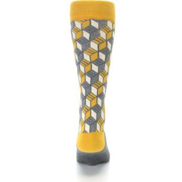 Image of Grey Mustard Cube Men's Dress Socks (back-18)