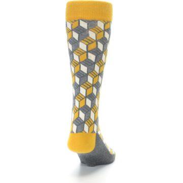 Image of Grey Mustard Cube Men's Dress Socks (back-19)