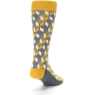 Image of Grey Mustard Cube Men's Dress Socks (side-1-back-20)