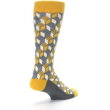 Image of Grey Mustard Cube Men's Dress Socks (side-1-back-21)