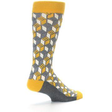 Image of Grey Mustard Cube Men's Dress Socks (side-1-back-22)
