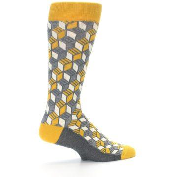 Image of Grey Mustard Cube Men's Dress Socks (side-1-23)