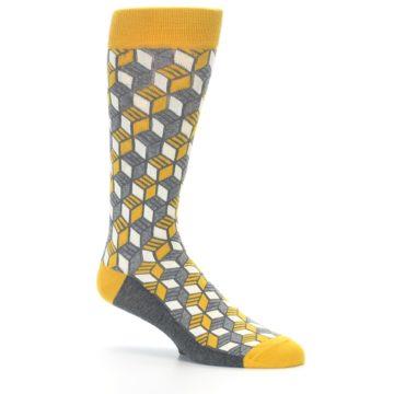 Image of Grey Mustard Cube Men's Dress Socks (side-1-26)