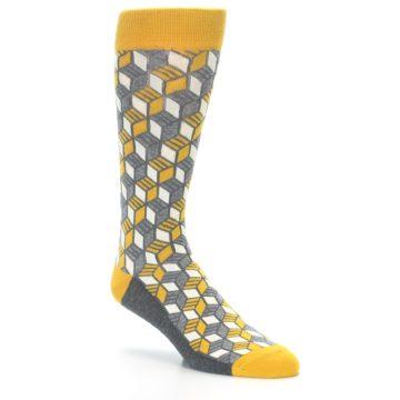 Image of Grey Mustard Cube Men's Dress Socks (side-1-27)