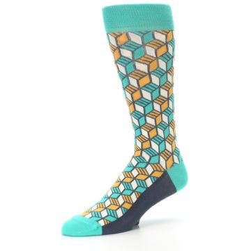 Image of Teal Orange Cube Men's Dress Socks (side-2-09)