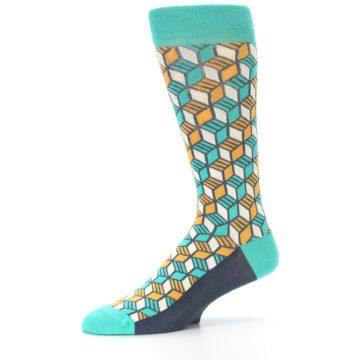 Image of Teal Orange Cube Men's Dress Socks (side-2-10)