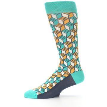 Image of Teal Orange Cube Men's Dress Socks (side-2-11)