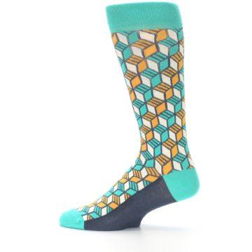 Image of Teal Orange Cube Men's Dress Socks (side-2-12)