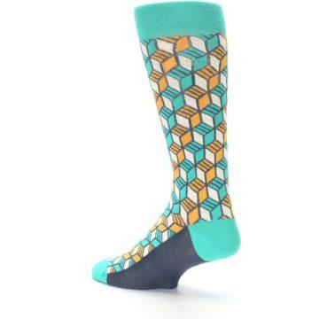 Image of Teal Orange Cube Men's Dress Socks (side-2-back-14)