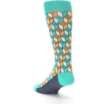 Image of Teal Orange Cube Men's Dress Socks (side-2-back-15)