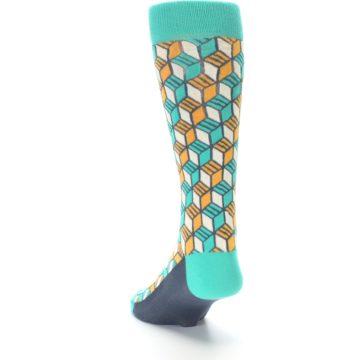 Image of Teal Orange Cube Men's Dress Socks (side-2-back-16)
