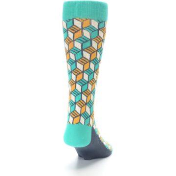 Image of Teal Orange Cube Men's Dress Socks (back-19)