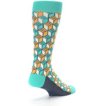 Image of Teal Orange Cube Men's Dress Socks (side-1-back-21)