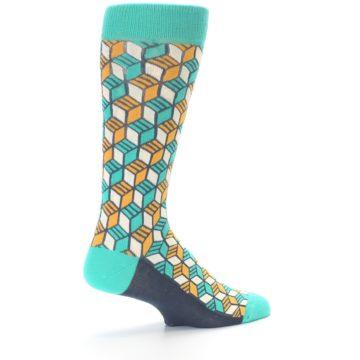 Image of Teal Orange Cube Men's Dress Socks (side-1-back-22)
