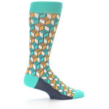 Image of Teal Orange Cube Men's Dress Socks (side-1-23)