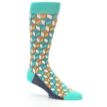 Image of Teal Orange Cube Men's Dress Socks (side-1-26)