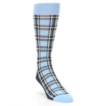 Image of Blue Charcoal Plaid Men's Dress Socks (side-1-front-02)