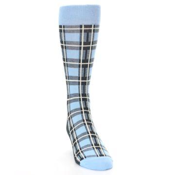Image of Blue Charcoal Plaid Men's Dress Socks (side-1-front-03)