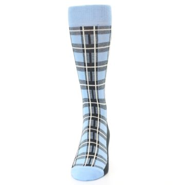 Image of Blue Charcoal Plaid Men's Dress Socks (front-05)