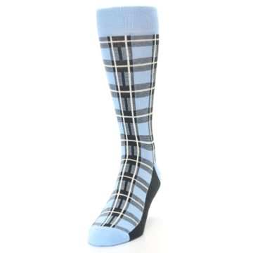 Image of Blue Charcoal Plaid Men's Dress Socks (side-2-front-06)